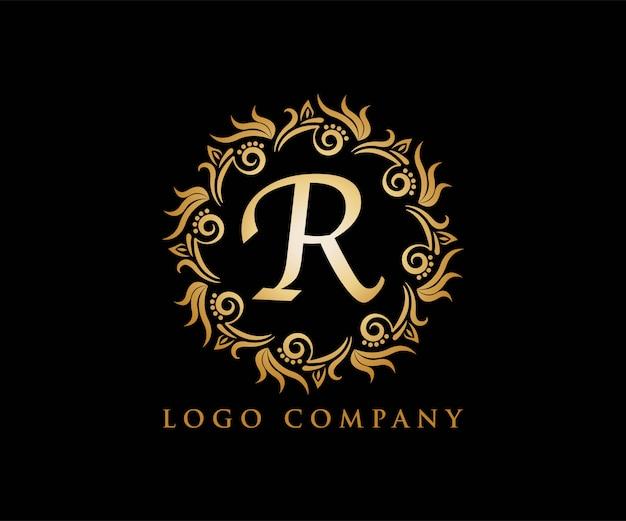 R adorno de oro para logotipo de yoga, invitación de boda,