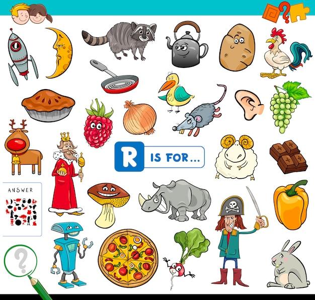 R es para juego educativo para niños.