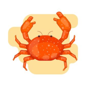 Сrab en la arena. ilustración de vector de estilo plano con textura de grano. personaje animado.