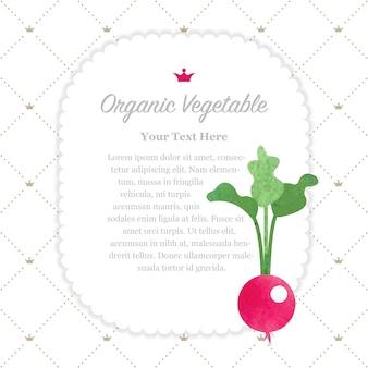 Rábano de marco de nota de vegetales orgánicos coloridos textura acuarela naturaleza