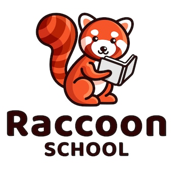 Raccoon school cute logo template