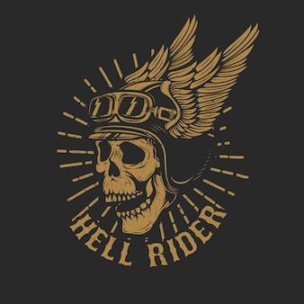 Racer cráneo en casco alado sobre fondo oscuro. elemento para emblema, póster, camiseta. ilustración