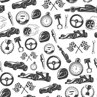 Racing de patrones sin fisuras con equipos aislados y herramientas para la ilustración de vector de carreras