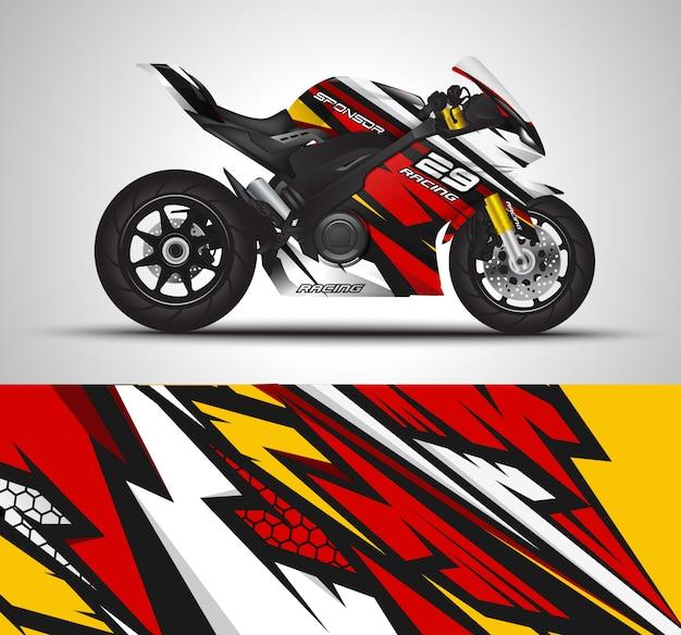 Racing sport bike wrap calcomanía y vinilo adhesivo ilustración.