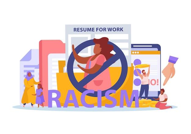 Racismo discriminación musulmana prohibir restricciones laborales de mujeres símbolos de brecha de pago composición plana con plantilla de currículum