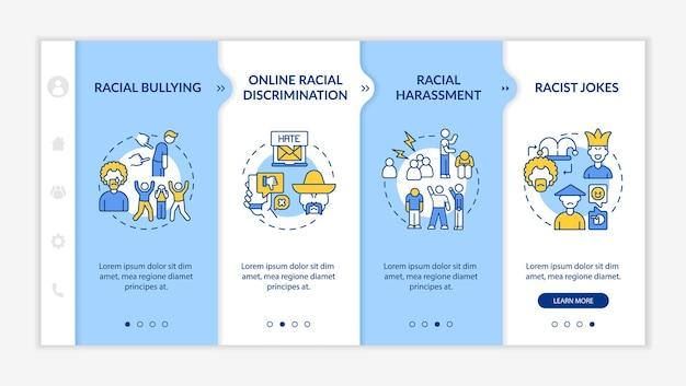 Racismo en la sociedad plantilla de vector de incorporación. sitio web móvil receptivo con iconos. tutorial de la página web pantallas de 4 pasos. concepto de color de discriminación racial en línea con ilustraciones lineales