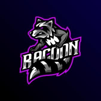Racoon mascot logo esport gaming ilustración