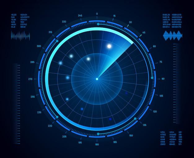 Radar futurista. sonar de navegación militar, pantalla de monitoreo de objetivos del ejército y mapa de interfaz de visión de radar aislado