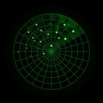 Radar verde aislado en la oscuridad. sistema de búsqueda militar. pantalla de radar hud. ilustración vectorial