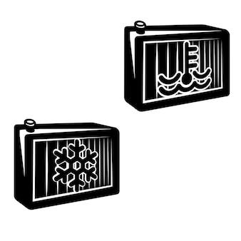 Radiador de refrigerante del motor en blanco y negro