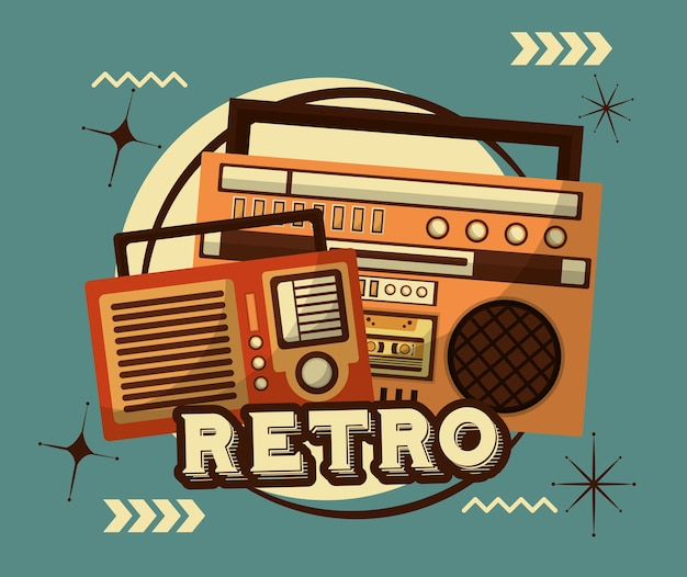 Radio y boombox estéreo cassette retro vintage