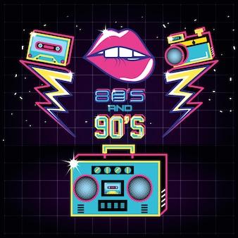 Radio con íconos de los ochenta y noventa retro