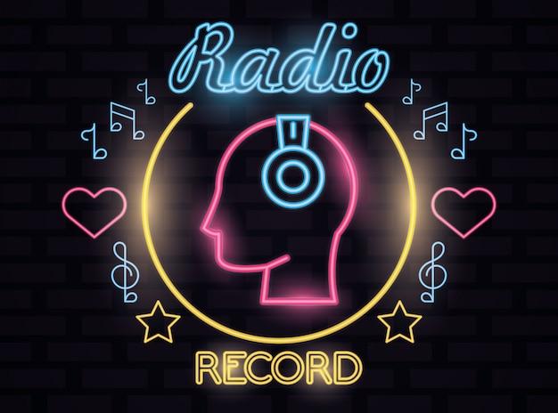 Radio music record label luces de neón ilustración