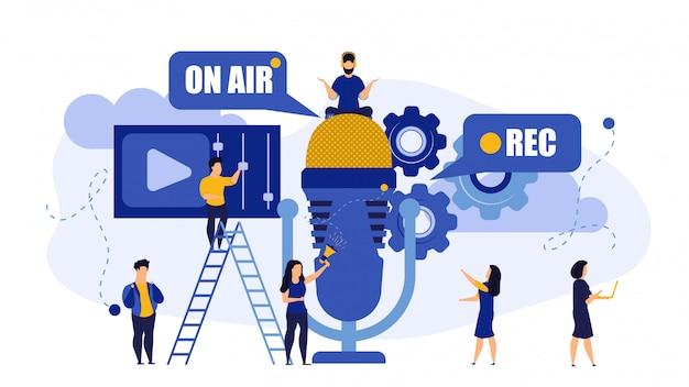 Radio música tv en vivo en vivo rec entrevista ilustración de personas.
