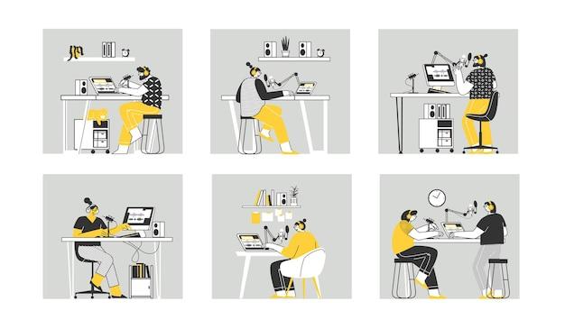 Radio podcast set vector ilustración aislada plana personas que crean podcast en estudio y escuchan programas de audio en teléfonos inteligentes y computadoras portátiles podcasting radio en línea