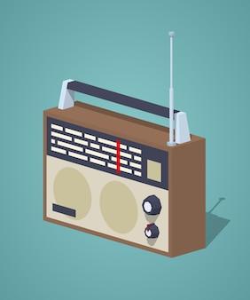 Radio retro isométrica en 3d