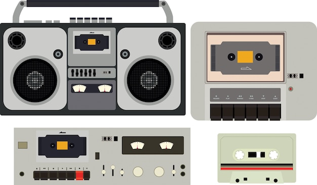 Radio vintage set vector
