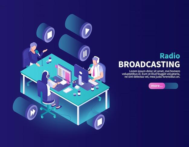 Radiodifusión en color con locutor y presentador de noticias en el lugar de trabajo isométrico