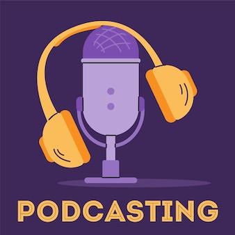 Radiodifusión con micrófono y auriculares ilustración de dibujos animados