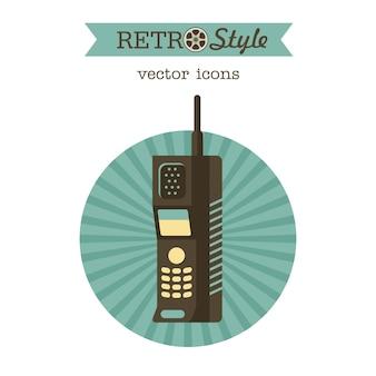 El radioteléfono. un modelo obsoleto. auricular.