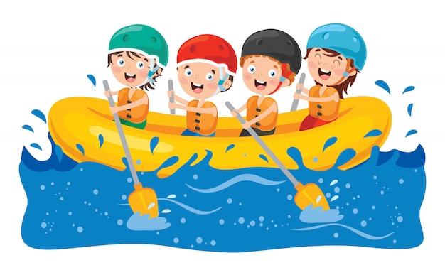 Rafting grupo de niños pequeños