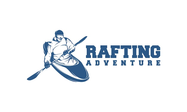 Rafting logotipo con rafting bote y hombre con remos