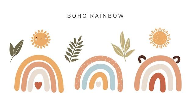Rainbow boho set ilustración de diseño abstracto
