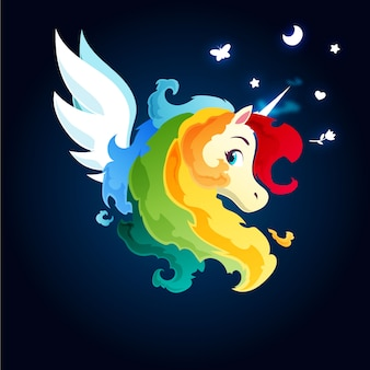 Rainbow fire magic unicorn