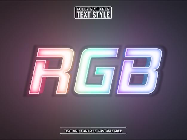 Rainbow gaming rgb efecto de texto de luz de neón brillante