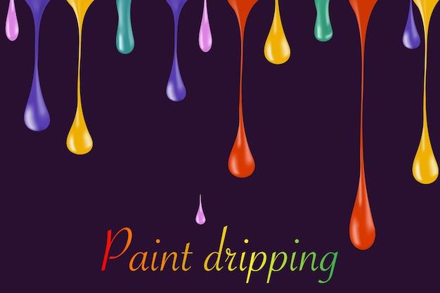 Rainbow gotas de gota de pintura brillante en blanco. ilustrador gotas de esmalte de uñas. caída de esmalte de uñas. caen gotas de pintura. caen gotas de pintura. gotas que caen