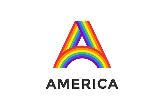 Rainbow letra a y texto américa