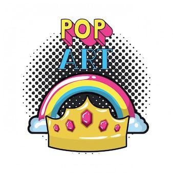 Rainbow con nubes de arte pop