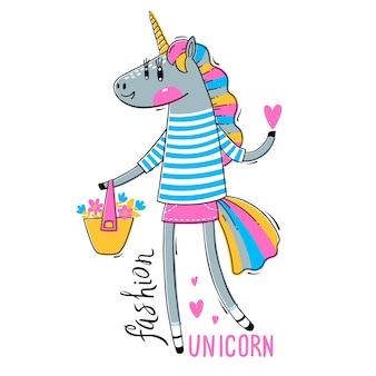 Rainbow unicorn en ropa de moda. moda kawaii animal.