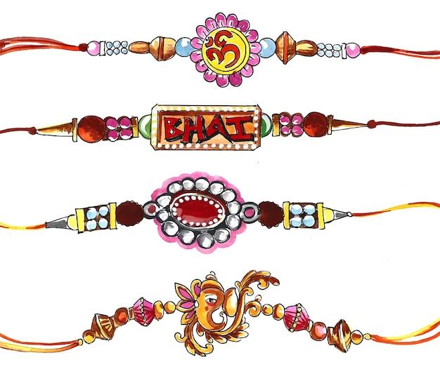 Rakhi decorado para el diseño de raksha bandhan del festival indio