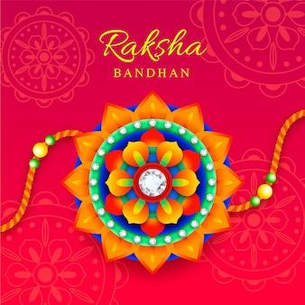 Raksha bandhan con adornos coloridos