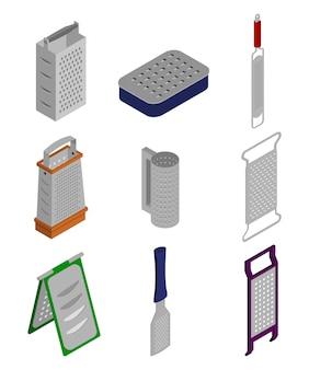 Rallador de cocina aislado conjunto isométrico icono. conjunto isométrico icono rejilla de mano. rallador de cocina de ilustración sobre fondo blanco.