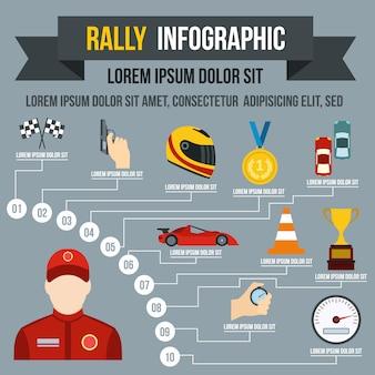 Rally infografía en estilo plano para cualquier diseño.