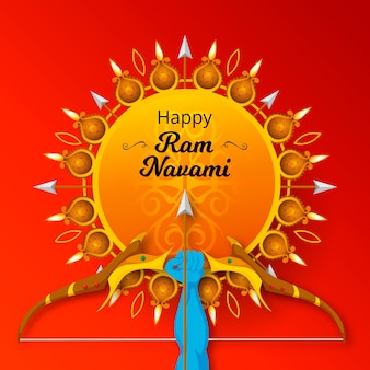Ram navami celebración diseño plano
