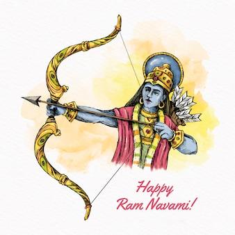 Ram navami festival arco y flechas diseño acuarela