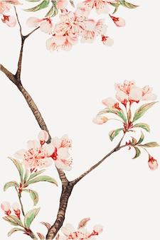Rama de árbol de color de agua con flores