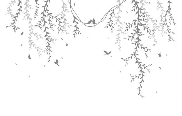 Rama de un árbol hermoso con fondo de silueta de aves
