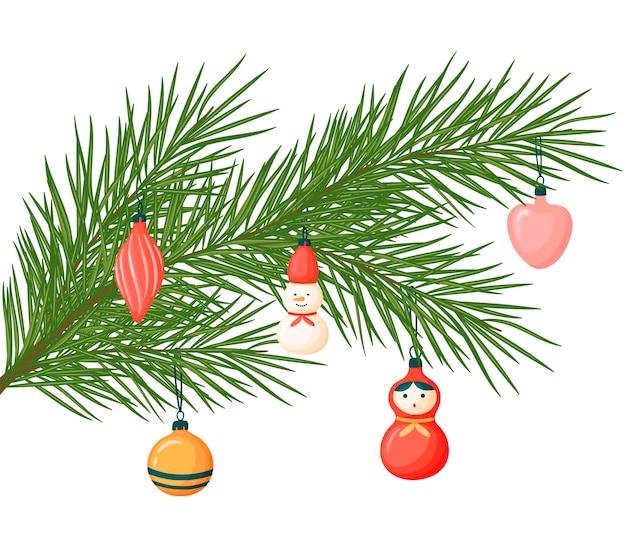Rama de un árbol de navidad con juguetes. ilustración de navidad. adornos navideños en estilo de dibujos animados.
