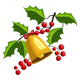 Rama de baya de acebo de navidad con ilustración de campanas doradas