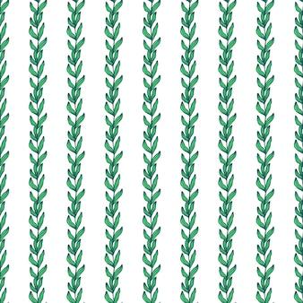 Rama de bosque geométrico con hojas de patrones sin fisuras sobre fondo blanco. telón de fondo de follaje. papel pintado de la naturaleza. para diseño de telas, estampado textil, envoltura, funda. ilustración vectorial.