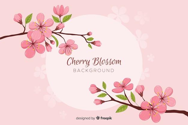 Rama de cerezo florecido dibujado a mano