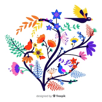 Rama floral colorido plano con colibrí