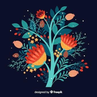 Rama floral colorido plano sobre un fondo azul oscuro