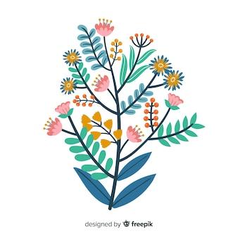 Rama floral dibujada mano plana