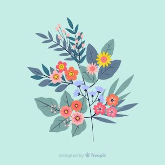 Rama con flores coloridas en diseño plano