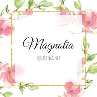 Rama de magnolia rosa acuarela con marco cuadrado dorado brillo